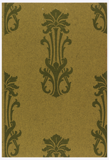 Staggered anthemion motifs in green on brown textured ground.