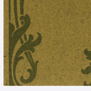 Staggered anthemion motifs in green on brown textured ground.