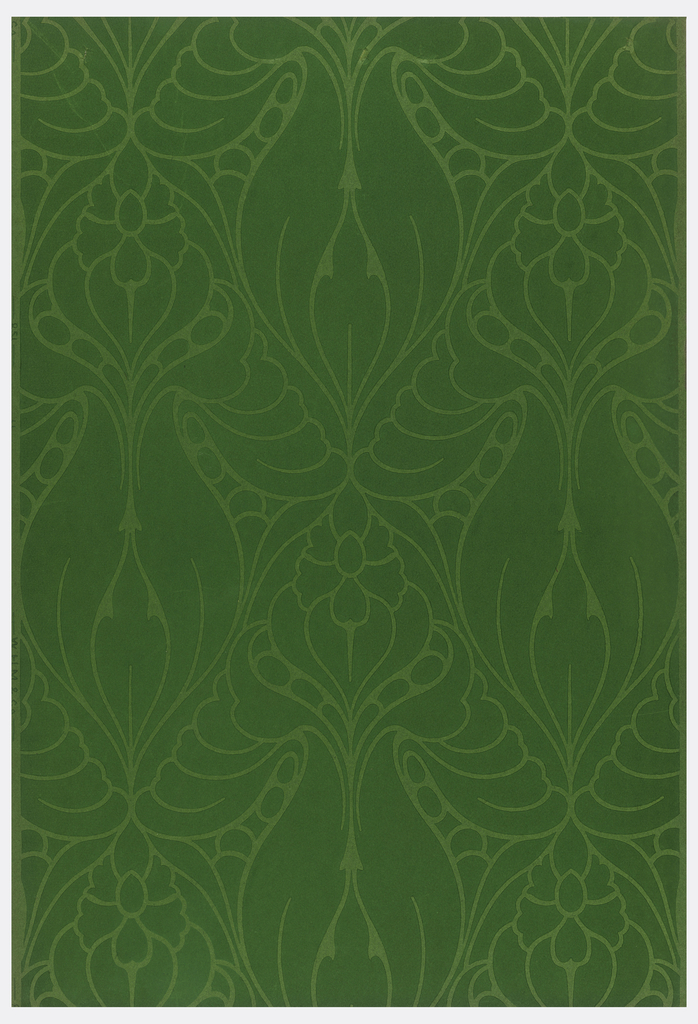 Allover large anthemion motifs in light green outline on dark green ground.
