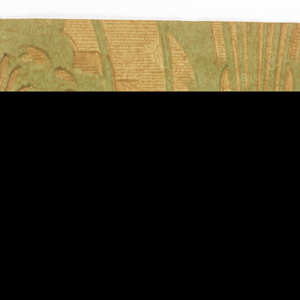Stylized floral bouquet forming stripes, printed in light green on mottled brown ground.