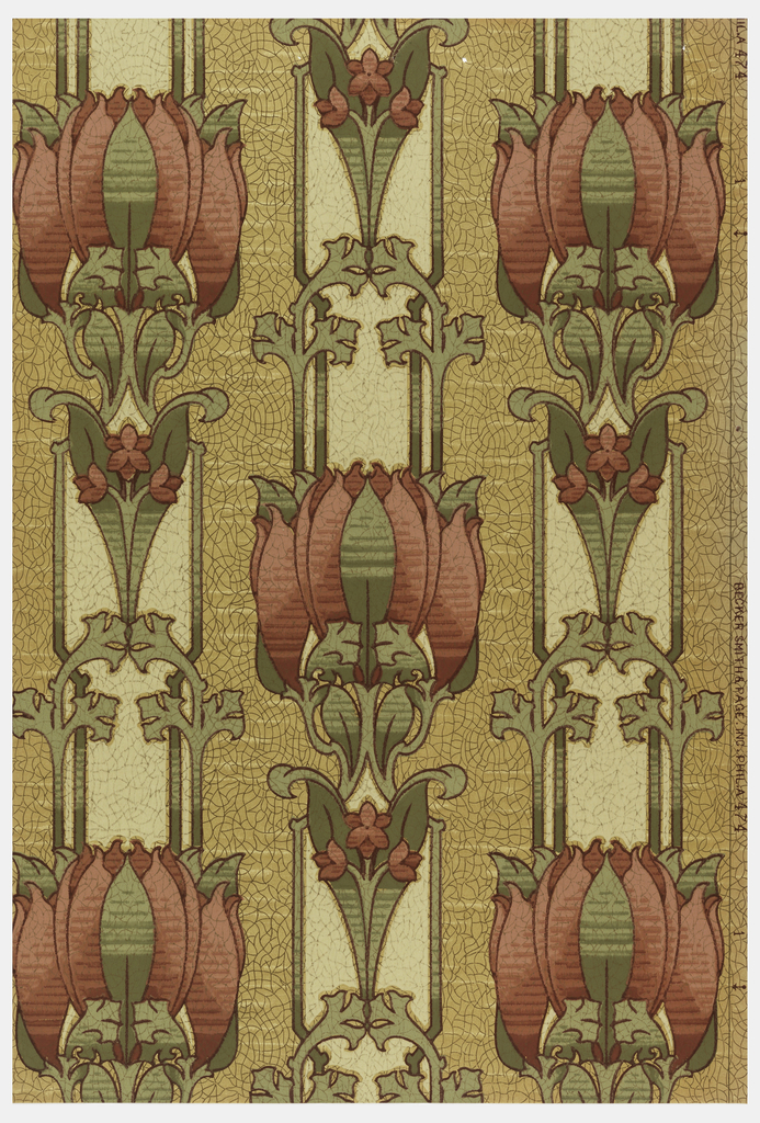 Stylized floral stripe; red flowers on off-white stripe, printed on mottled tan ground.