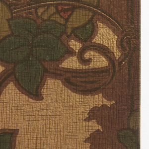 Stylized vining floral; cluster of three roses in front of landscape silhouette. Pinted in red, green, gold and brown on textured tan background.