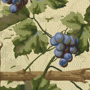 Grape and trellis design. Rustic dark brown trellis supports forming perfect squares, from which hang bright blue grape clusters. Printed on tan ground.