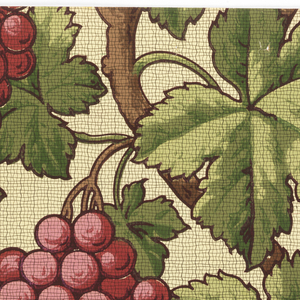 Large clusters of red grapes hanging from vines. Printed on patterned tan ground.
