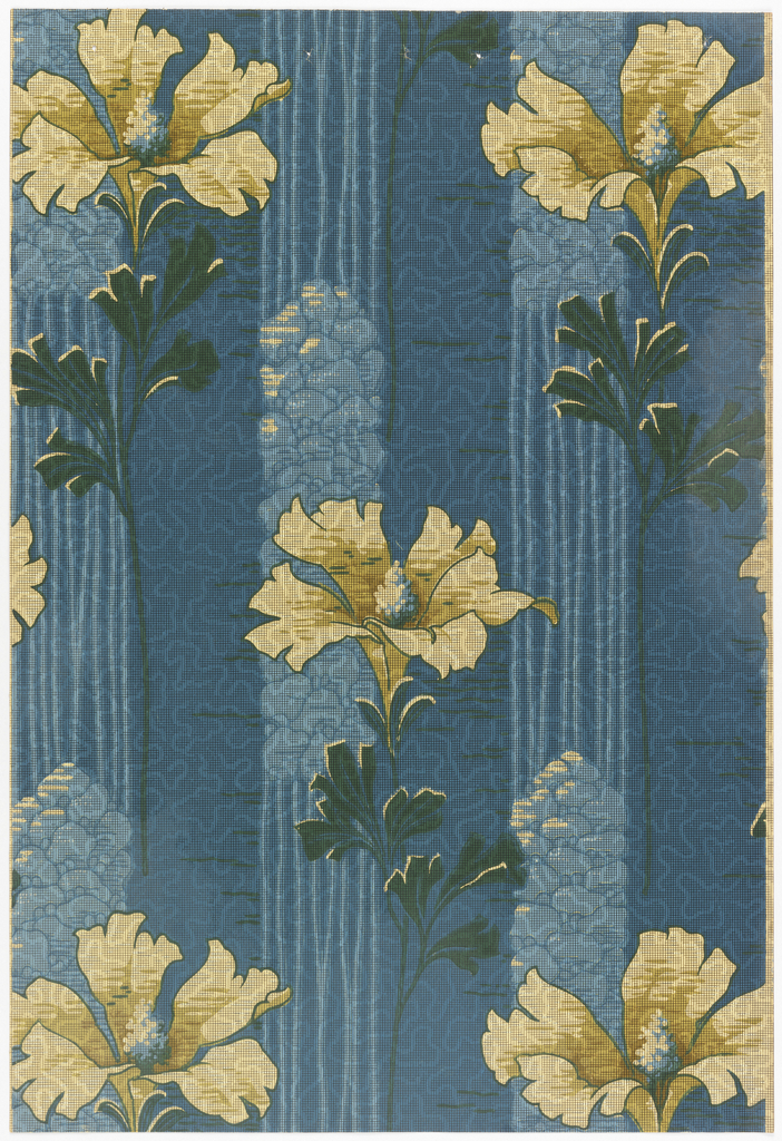 Florall stripe design. White flowers on a blue stem, printed over a blue stripe.