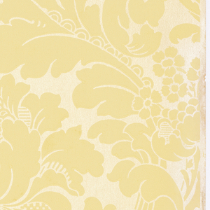 Damask-like design. large-scale flower set within large acanthus leaves, forming diaper pattern. Printed on pale gold mica background.