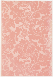 All-over vining floral design. Large-scale flower set within foliage that forms a diamond trellis pattern. Printed in pink on pale pink mica background.