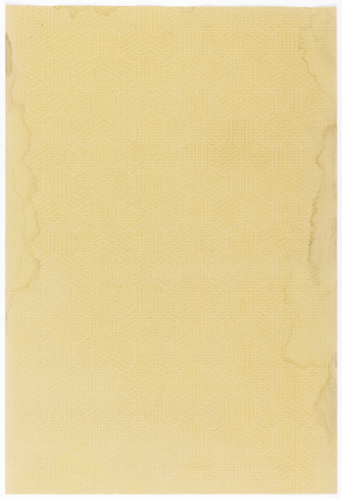 Very fine, barely visible textural design of hexagons and connecting stripes. All-over design. Printed in beige, canary yellow and light brown.