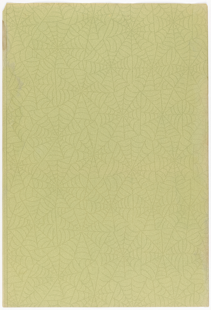 All-over design of spiderwebs on background of tiny dots and very fine vermicelly-lines. Printed in chartreuse, dark green, brown on a pale chartreuse background.