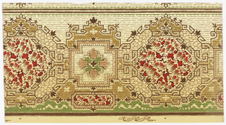 Large hexagon motifs defined by geometric line motifs and blurred small shapes in its center. A square motif enclosing four fleur de lis connects the hexagon motifs. Horizontal broken lines run through the border. Printed in brown, mustard, olive, green, red, wine on a cream background.