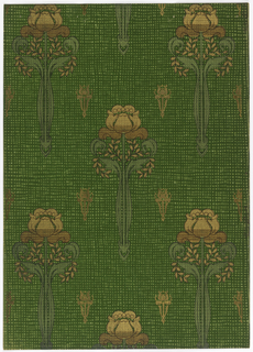 Stylized tulip, long stemmed with curled leaves on each side. Small sprays of leaves placed vertically, the tulips are widely spaced with small tulips interspersed. Printed in gold mica, green metallic, light green, black on a background of criss-cross lines.