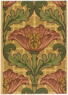 Very large poppy-like flower with large acanthus leaves to each side of the them enclosing the flower. A fancy lattice square forms the background. Printed in red, burgundy, ocher, green and yellow.