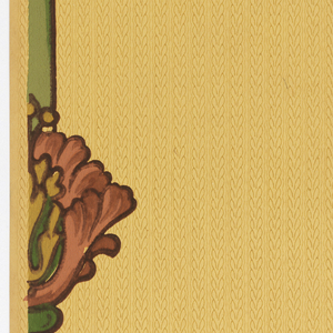 """Vertical stripe-like stems interrupted every 48"""" by a poppy-like flowers. Distance of thems is 7 5/8 inches. A fine line braided stripe and two fine lines form an all-over background. Printed in red, burgundy, ocher and green on a dark chamois background."""