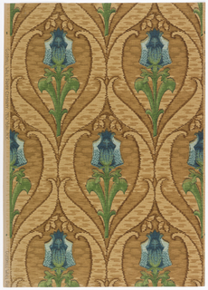 Art nouveau; fantasy flower on heavy stem with leaves on each side. Curved large leaf-like forms are enclosing the flower which repeats half-drop vertically. Broken heavy lines, giving a textured effect, fill the background. Printed in blues, greens, black and shades of brown.