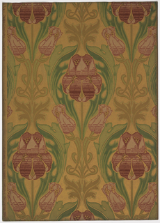 Art nouveau; open and closed tulips with acanthus leaves surrounding the flowers. Smaller leaves and scrolled stems are placed between tulips. Printed in greens, reds and olive on a gold mica background.