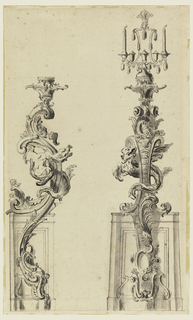 Left, incomplete, side elevation; right, front elevation. The shaft is attached to, and arises from, a convex panel. The shaft itself, consisting of rocaille motifs, and of a dragon supports a scaffolding with two candles.