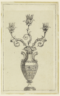 The scheme of the design is a variation of that of -149. The plant shows acanthus and naturalistic motifs. The vase has angular handles. The decoration stresses the horizontal dimensions.