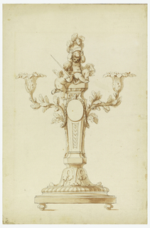 Two oak boughs rise along the sides of a gaine which, standing on a calyx, forms the shaft. A garland hangs from the top of a medallion, which is fastened to the shaft, and around the boughs. Blossoms form the sockets. Two putti top the gaine, one of them shoulders a sword, the other puts a helmet on his head.