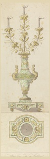 Design for a marble and bronze candelabrum.  A tall marble vase with bronze mounts consisting of garland swags, enriched molding and two mermaids.  From the vase spring three flowering bronze branches with candles set within them.  The case is on a marble base with bronze mounts.