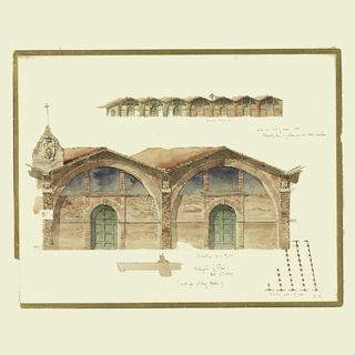 Above, elevation of a slightly, obliquely disposed one-story building of eight bays, five of which contain doors; center, elevation of two of the brick bays; a pedestal with the coat of arms of the Medici rises over a pilaster at left; scale below; lower section, a plan of wall beside a door and a part of the plan of the building.