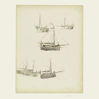 Top row, two anchored barges shown obliquely from the sterns. Center, a barge sailing toward right, with Dutch colors. Bottom, three anchored barges shown from the sterns. Verso: sketches in graphite of a mast and barge.