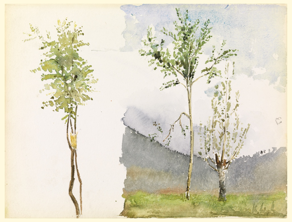 Left, two young trees; right, two trees in a meadow shown against wooded hills. Verso, boulders and an evergreen.