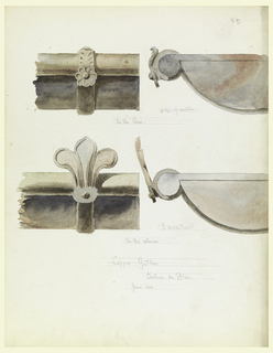 Left, the brackets of two gutters are shown; upper decorated with a rosette and a leaf, lower decorated with the top part of a lily. Shown in profile with the closed ends of the pipes.