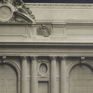 Photograph of the plaster model of the facade of Grand Central Terminal, New York, which faces south on lower Park Avenue.