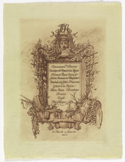 An elaborate menu for a banquet listing the dishes to be served inside an escutcheon bordered by a masked deity of plenty above, fruits of the hunt and of the harvest below, and snaking grapevine on the trellises at either side.