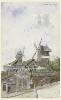 "View of the street and gateway of the Moulin de la Galette showing the windmill towers. Several ""jeunes de joie"" on their way in."