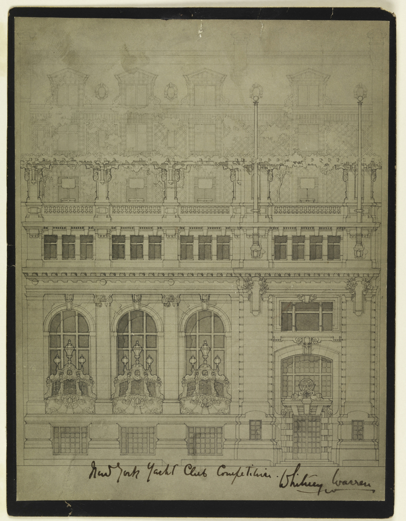 Elevation of building decorated with opulent balconies on first floor.
