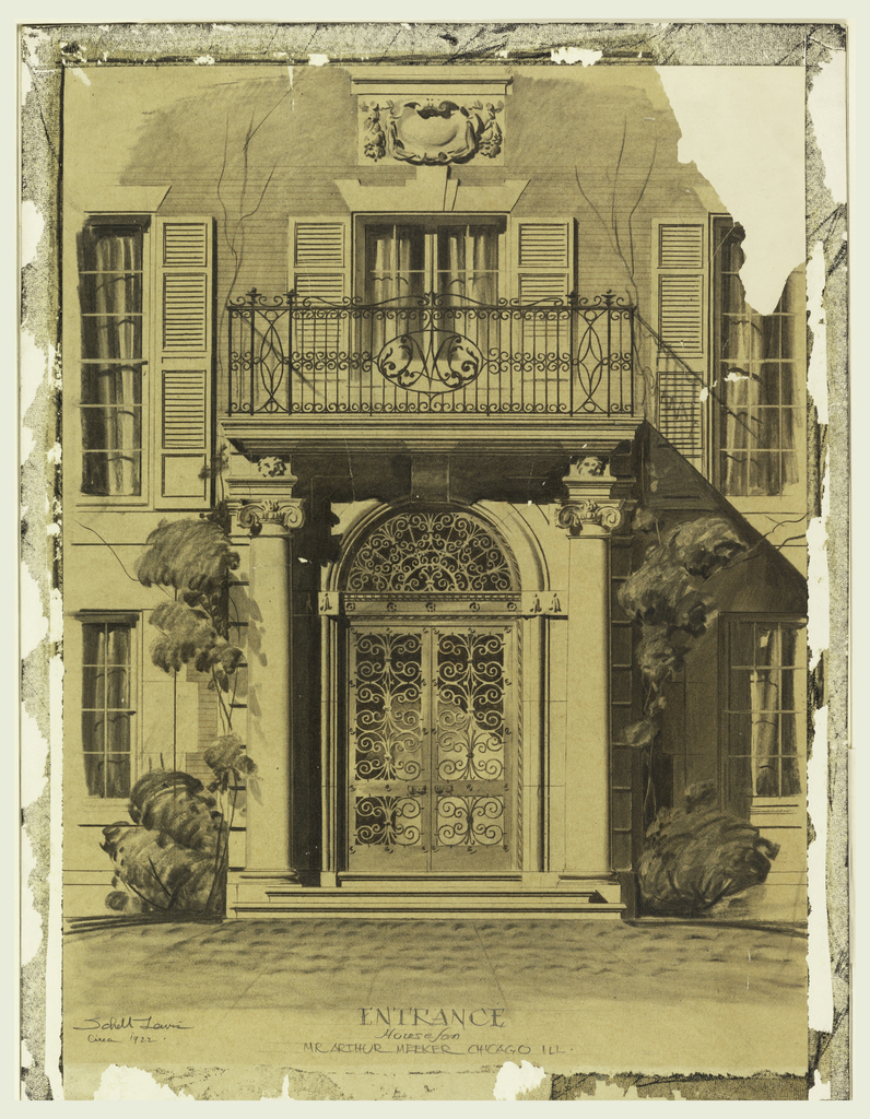 Drawing, Rendering of the Entrance to the Arthur Meeker House, Chicago