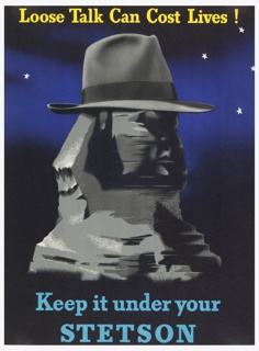 A snap-brim hat on the Sphinx of Egypt, facing half-right against a starry sky. Text in yellow, above: Loose Talk Can Cost Lives!; in light blue, below: Keep it under your / STETSON.
