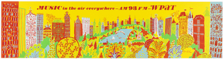 Cityscape, in yellow, red, blue, and green, from Central Park perspective, surrounded by buildings. Text in red ink: MUSIC in the air everywhere—AM 93 FM—WPAT.