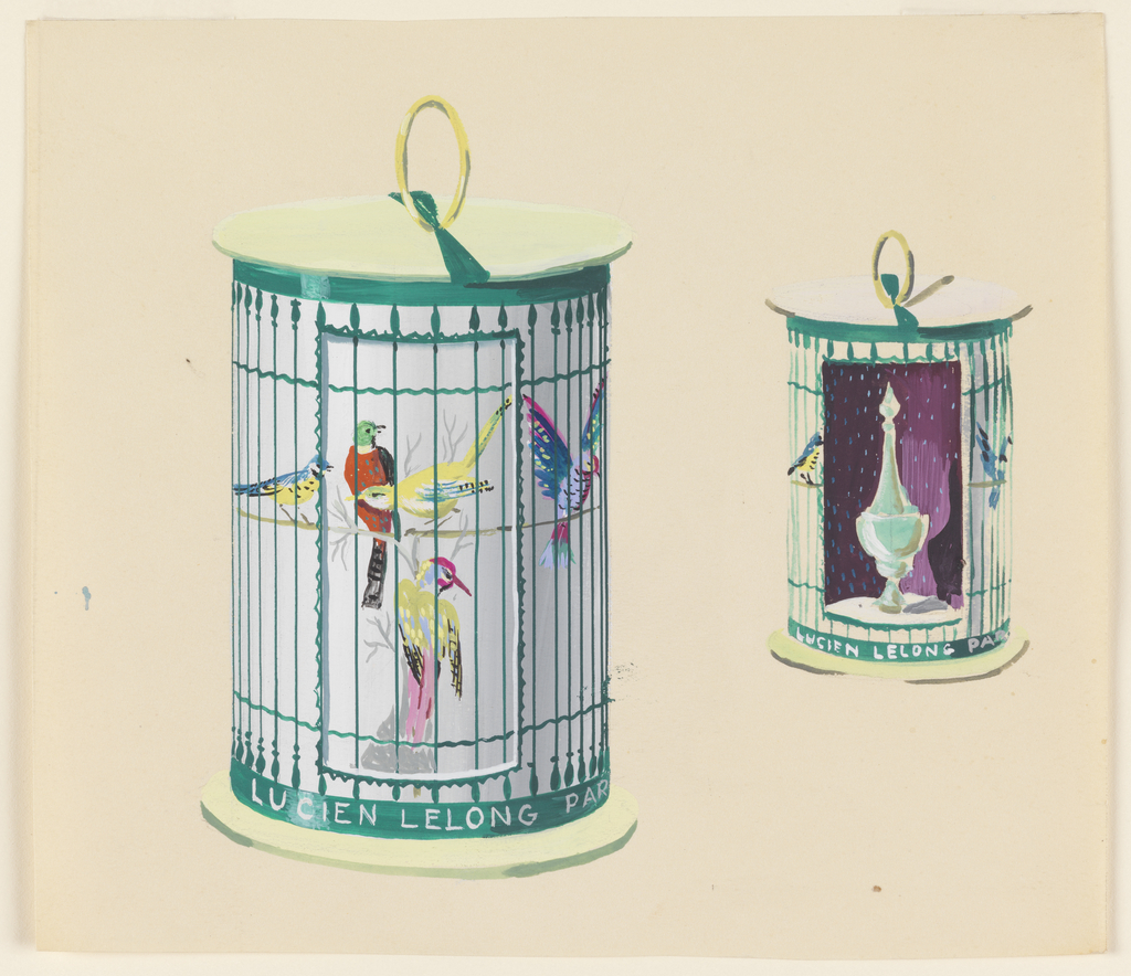 Two birdcages; on the left, containing birds, and on the right, holding a perfume bottle and two birds. The cage is inscribed.