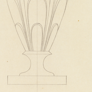 Frontal view and plan of a vase or perfume container with lobed decoration.