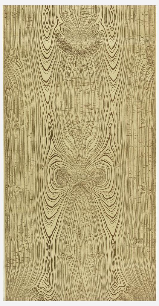 Woodgrain design with symmetrical graining. Printed in dark brown on light brown ground.