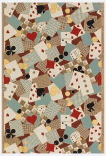 "Gambling paper. Design composed of playing cards, poker chips, and dice, with hearts, diamonds, clubs and spade motifs in a free, all over, haphazard arrangement. Printed in selvedge: ""8208 Fabrication Belge (UPL) Made in Belgium""."