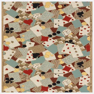 """Gambling paper. Design composed of playing cards, poker chips, and dice, with hearts, diamonds, clubs and spade motifs in a free, all over, haphazard arrangement. Printed in selvedge: """"8208 Fabrication Belge (UPL) Made in Belgium""""."""