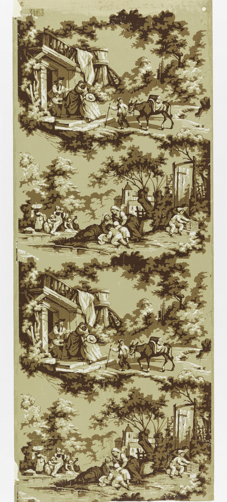 Random landscape scenes or vignettes of village life in sepia and chalk. A young girl returns from a journey, village women wash their clothes in a small stream and boys investigate a rabbit cage. Trees and buildings in background. Drop match.