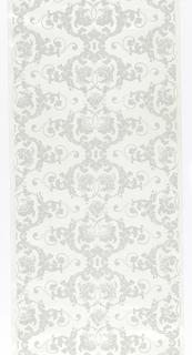 Bi-symmetrical foliage, flower and foliate scroll pattern in pale gray. Straight across match.