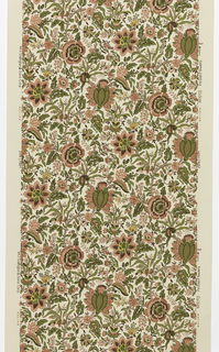 "Cream and red floral paper on a cream ground. Touches of yellow in the flowers. In the style of an 18th century ""Indian"" print. Matches straight across."