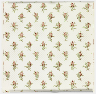 Staggered rows of pink rosebuds with green leaves and stems. Mica polka dots in all-over pattern on white ground. Matches straight across.
