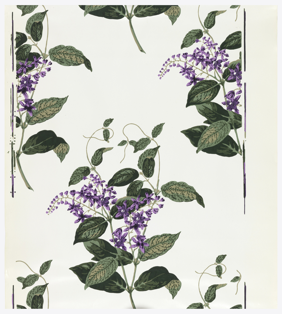 Single motif. Large scale drop-repeating spray of purple flower with green stems and leaves. Glazed white ground. About seven colors.