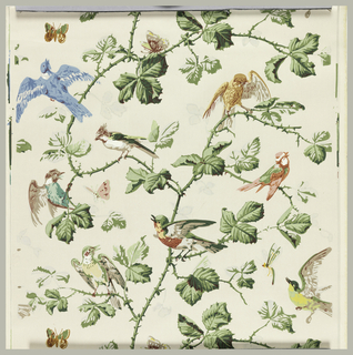 Ascending serpentine branches with thorns and leaves. Birds perched and in flight in random arrangement. Butterflies in flight. About sixteen colors.