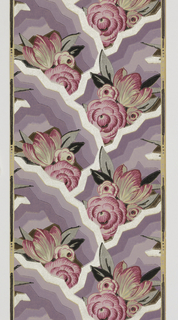 Stylized floral and geometric pattern flowers in shades of hot pink with black and silver leaves dominate geometric pattern in shades of lavendar, silver and brown.