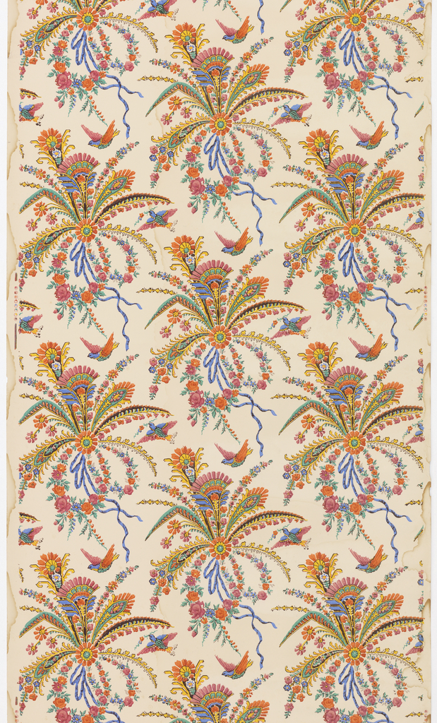 Stylized floral groupings in style of peacock feathers, printed in mauve, orange, green, blue and yellow, tied with blue ribbons, with birds flying near by.