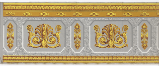 Architectural design, inset panels containing acanthus scrolls and gilded ornament. Gray, stone-like middle band, with ocher bands across top and bottom.