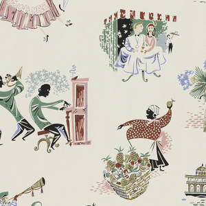Scenes of New Orleans including jazz musicians, Mardi Gras, woman with basket of fruit. Printed in yellow, pink, green, black, and blue on a white ground.