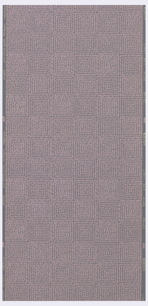 Pink square weave with metallic gold on a grey ground.